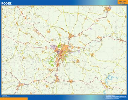 Mapa Rodez en Francia enmarcado plastificado