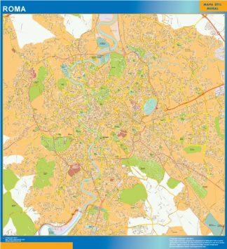 Mapa Roma enmarcado plastificado