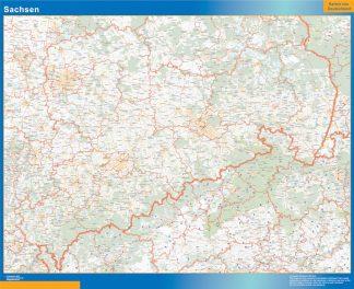 Mapa Sachsen enmarcado plastificado