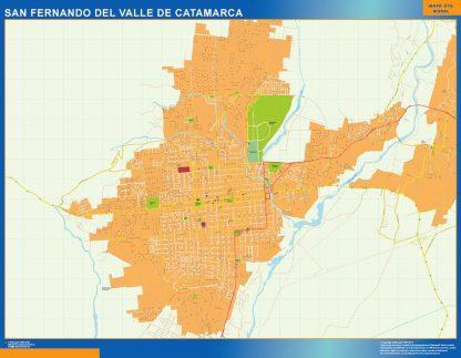 Mapa San Fernando del Valle Catamarca en Argentina enmarcado plastificado