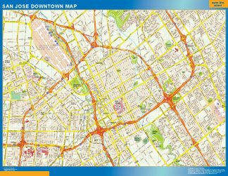 Mapa San Jose downtown enmarcado plastificado
