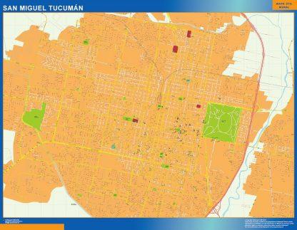 Mapa San Miguel Tucuman en Argentina enmarcado plastificado