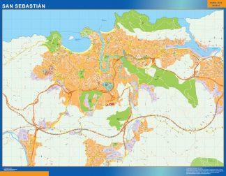Mapa San Sebastian callejero enmarcado plastificado