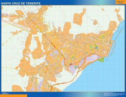 Mapa Santa Cruz Tenerife callejero enmarcado plastificado