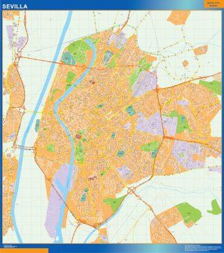 Mapa Sevilla callejero enmarcado plastificado