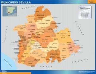 Mapa Sevilla por municipios enmarcado plastificado