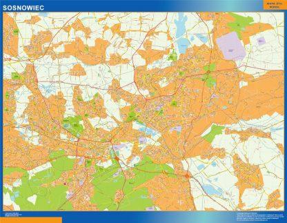 Mapa Sosnowiec Polonia enmarcado plastificado