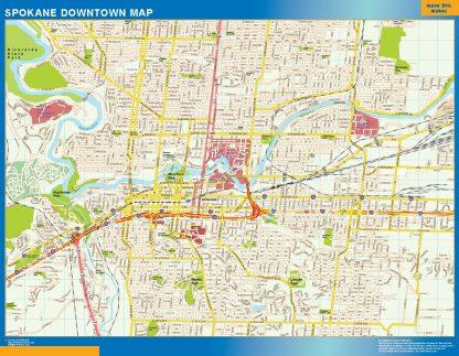Mapa Spokane downtown enmarcado plastificado