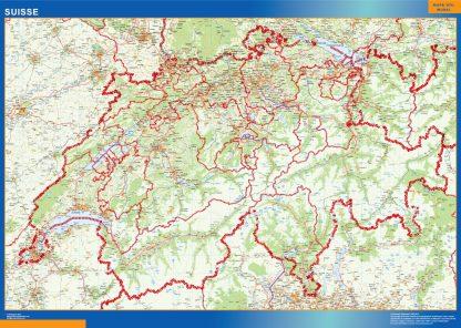 Mapa Suiza enmarcado plastificado