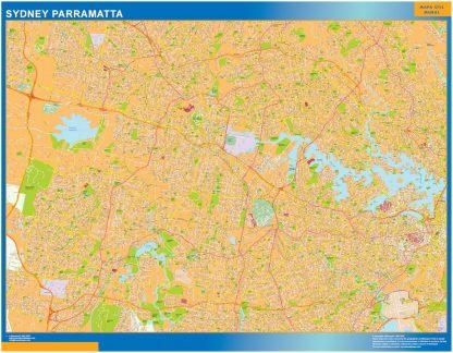 Mapa Sydney Parramatta Australia enmarcado plastificado
