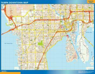 Mapa Tampa downtown enmarcado plastificado