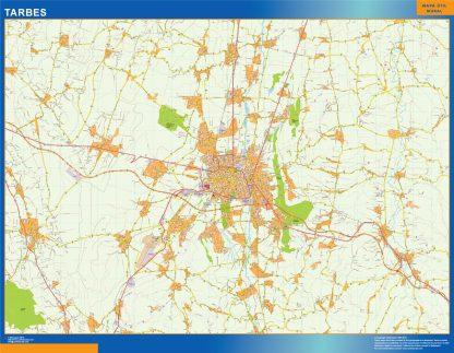 Mapa Tarbes en Francia enmarcado plastificado