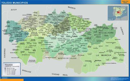 Mapa Toledo por municipios enmarcado plastificado