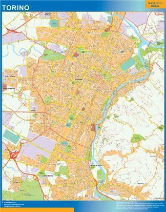 Mapa Torino enmarcado plastificado