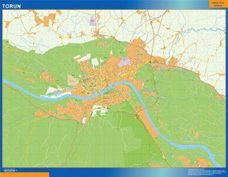 Mapa Torun Polonia enmarcado plastificado