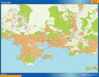 Mapa Toulon en Francia enmarcado plastificado