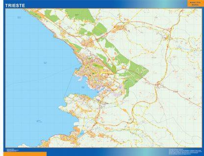 Mapa Trieste enmarcado plastificado