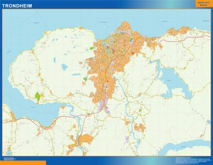 Mapa Trondheim en Noruega enmarcado plastificado
