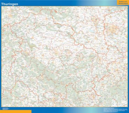 Mapa Turingia enmarcado plastificado