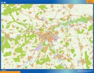 Mapa Ulm en Alemania enmarcado plastificado