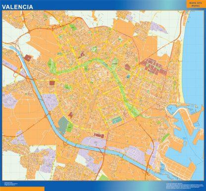 Mapa Valencia callejero enmarcado plastificado