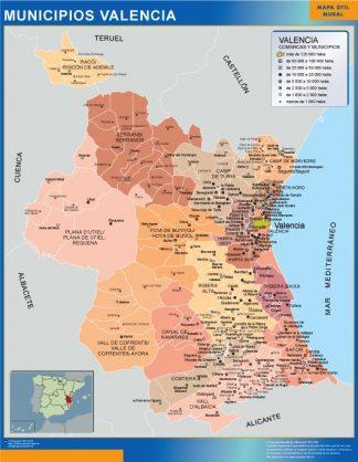 Mapa Valencia por municipios enmarcado plastificado
