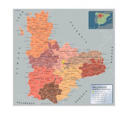 Mapa Valladolid por municipios enmarcado plastificado