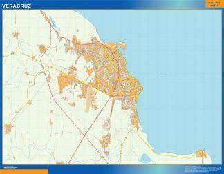 Mapa Veracruz en Mexico enmarcado plastificado