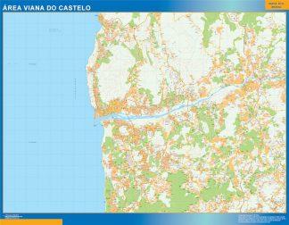 Mapa Viana Do Castelo área urbana enmarcado plastificado