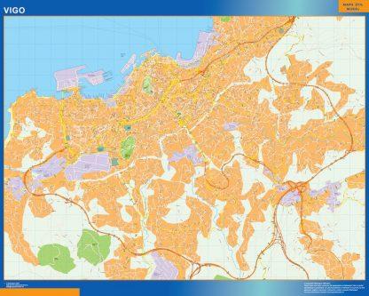 Mapa Vigo callejero enmarcado plastificado