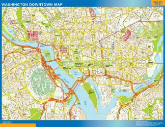 Mapa Washington downtown enmarcado plastificado