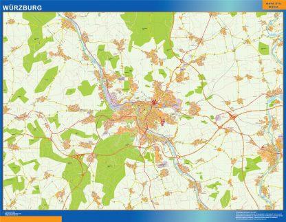 Mapa Wurzburg en Alemania enmarcado plastificado