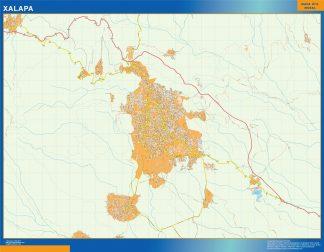 Mapa Xalapa en Mexico enmarcado plastificado