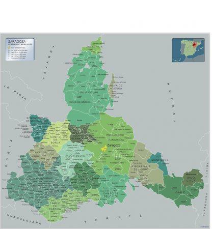 Mapa Zaragoza por municipios enmarcado plastificado