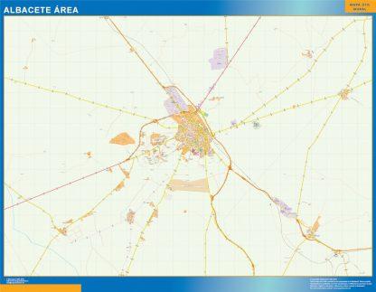 Mapa carreteras Albacete Area enmarcado plastificado