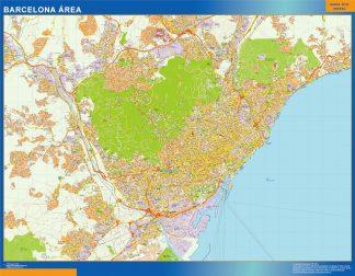 Mapa carreteras Barcelona Area enmarcado plastificado