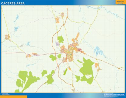 Mapa carreteras Caceres Area enmarcado plastificado