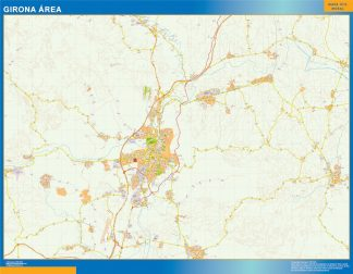Mapa carreteras Girona Area enmarcado plastificado