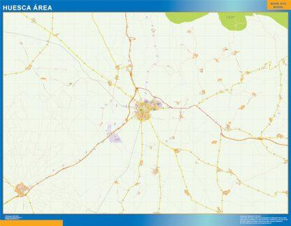 Mapa carreteras Huesca Area enmarcado plastificado