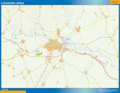 Mapa carreteras Logrono Area enmarcado plastificado