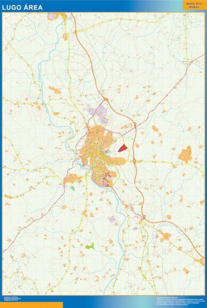 Mapa carreteras Lugo Area enmarcado plastificado