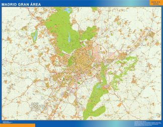 Mapa carreteras Madrid Gran Area enmarcado plastificado