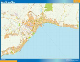 Mapa carreteras Malaga Area enmarcado plastificado
