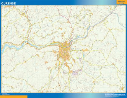 Mapa carreteras Ourense Area enmarcado plastificado