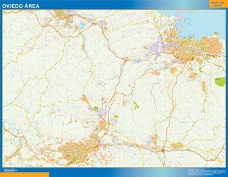 Mapa carreteras Oviedo Area enmarcado plastificado