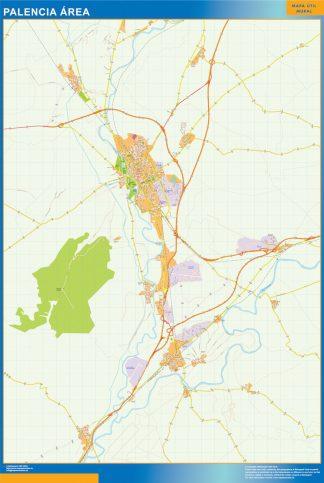 Mapa carreteras Palencia Area enmarcado plastificado