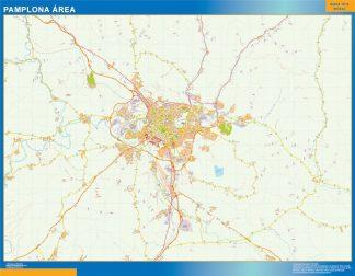 Mapa carreteras Pamplona Area enmarcado plastificado