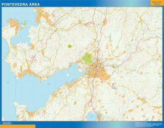 Mapa carreteras Pontevedra Area enmarcado plastificado
