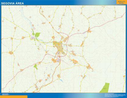 Mapa carreteras Segovia Area enmarcado plastificado