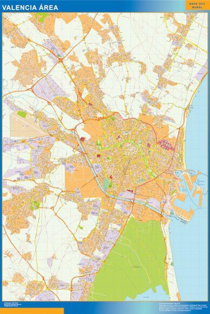 Mapa carreteras Valencia Area enmarcado plastificado
